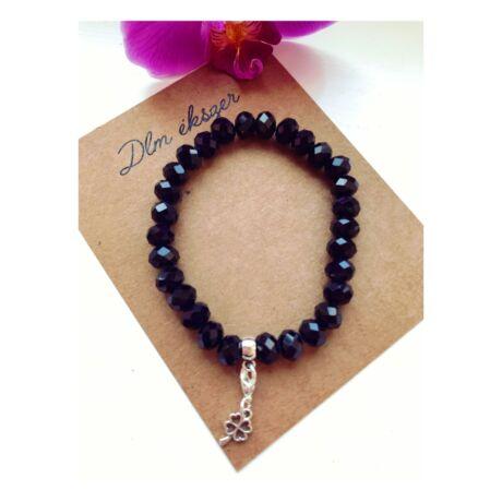Fekete kristály karkötő+ ajándék charm