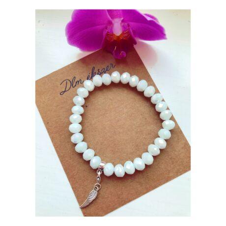 Hófehér, fénylő kristály karkötő+ ajándék charm