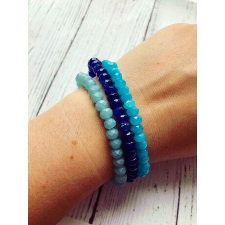 Szivecskés kristálykarkötő szett- kék