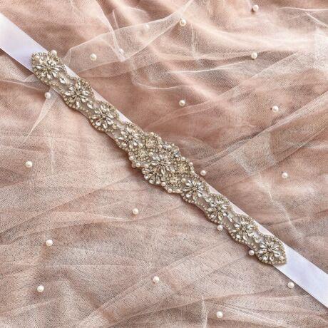 Liz Menyasszonyi szatén öv- fehér