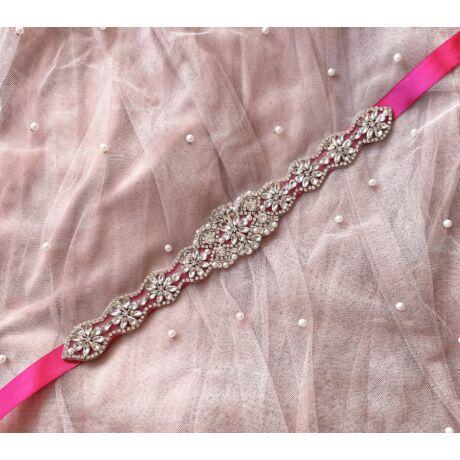 Liz Menyasszonyi szatén öv- pink