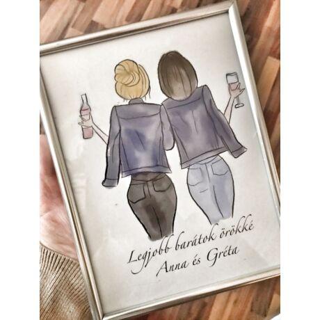 Legjobb barátok örökké- digitális rajz keretben- Egyedi névvel
