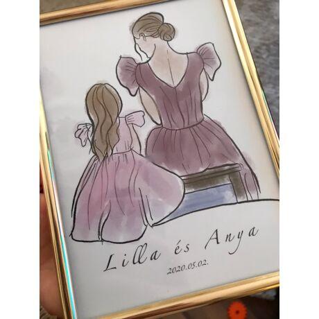 Anya-lánya hercegnős rajz- Egyedi nevekkel
