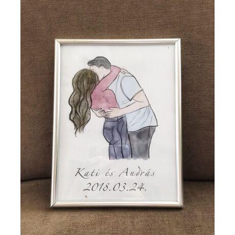 Szeretlek- digitális rajz keretben- Egyedi névvel