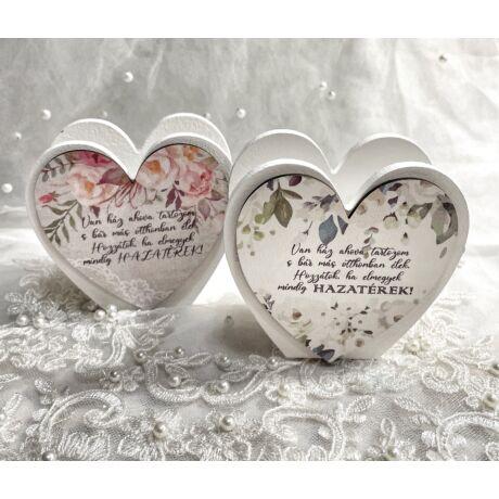 Szülő köszöntő táblácska szív kosárka - HAZATÉREK - párban