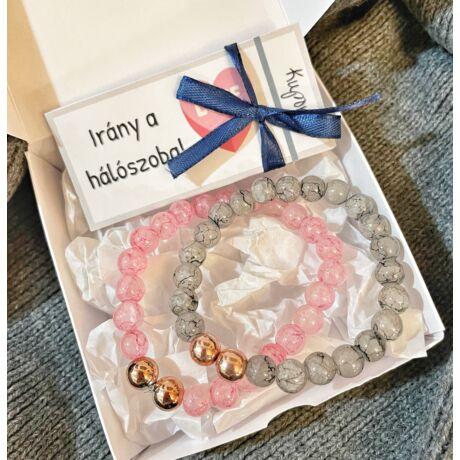 Szeretlek csomag- páros karkötővel- márvány- rózsaszín