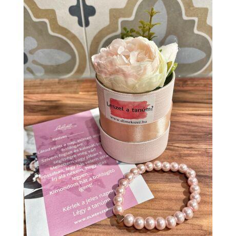 Tanú felkérő virágbox- világos rózsaszín