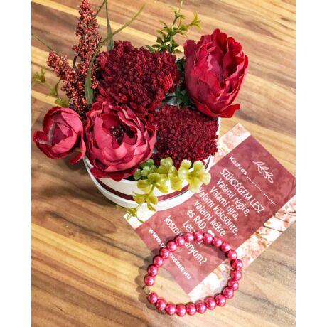 Koszorúslány felkérő virágbox- bordó - közepes